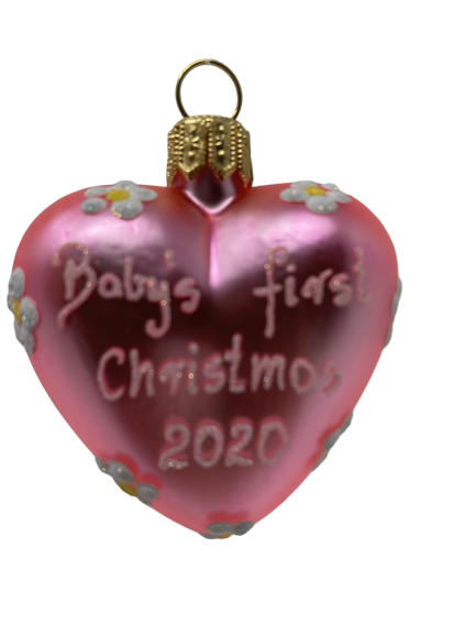 """Heart """"Baby First pink"""" ,Glass Christmas Ornm. 2.0"""".Wit117 . Hand painted and decorated in Poland.-0"""