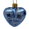 "Heart ""Baby First blue"" ,Glass Christmas Ornm. 2.0"".Wit118 . Hand painted and decorated in Poland.-0"
