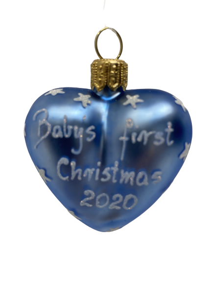 """Heart """"Baby First blue"""" ,Glass Christmas Ornm. 2.0"""".Wit118 . Hand painted and decorated in Poland.-0"""