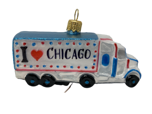 "TRUCK Chicago ,Glass Christmas Ornm. 2hx4L"".Wit119 . Hand painted and decorated in Poland.-0"
